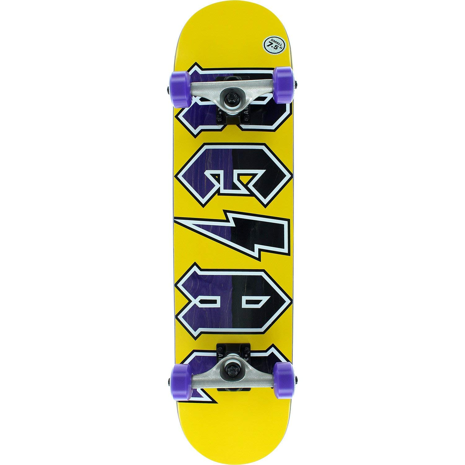 "Real Skateboards New Deeds Small Yellow/purple / Black Mid Complete Skateboards - 7.5"" x 31"""