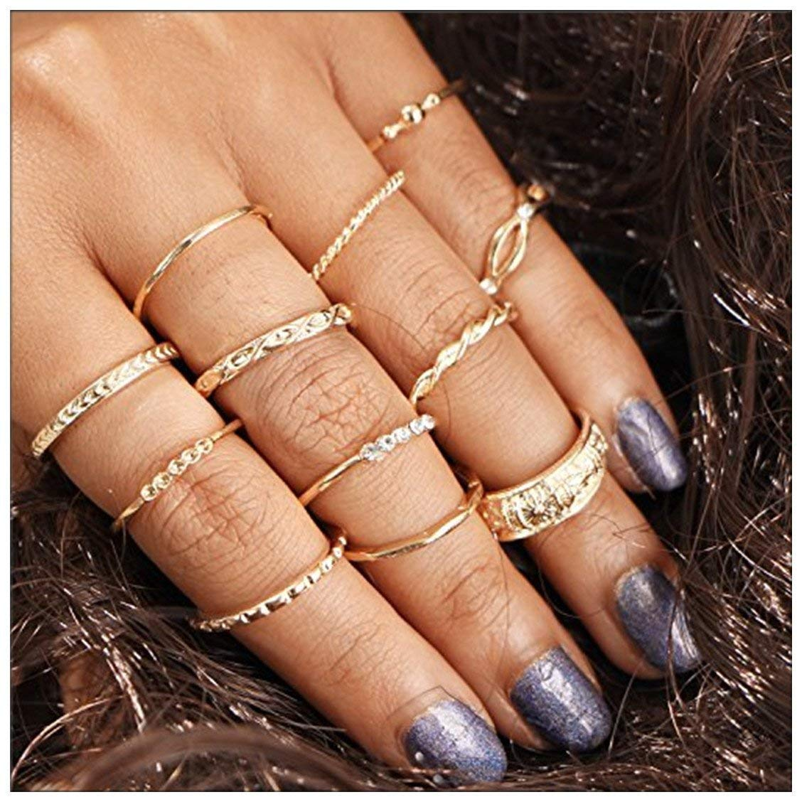 Knuckle Boho Midi Rings Set for Women Girls,Sun Moon Elephant Joint Knuckle Nail Rings Set Stacking Stackable Vintage Rings Set 10/12/13 Pcs
