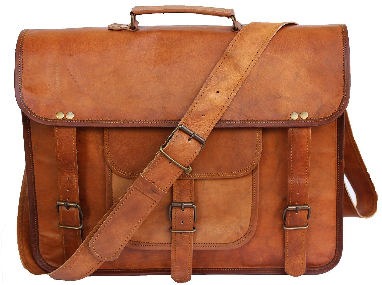 Scotchleather 15'' Adult Unisex Cross Shoulder Genuine Leather Laptop Briefcase Messenger Bag Satchel Brown