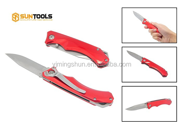 Bright red color aluminum handle folding type pocket utility knife