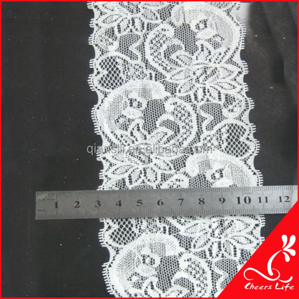 Cheerslife ivory elastic stretch high quality cheap flat spandex lace trimming QT08016