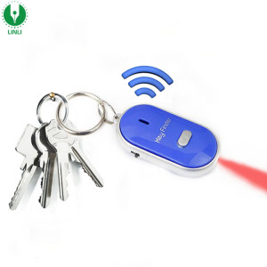 Promotional Custom Logo Wireless Whistle Sound Beep Funny Lost Small Smart Key Finder With LED Light Keychain