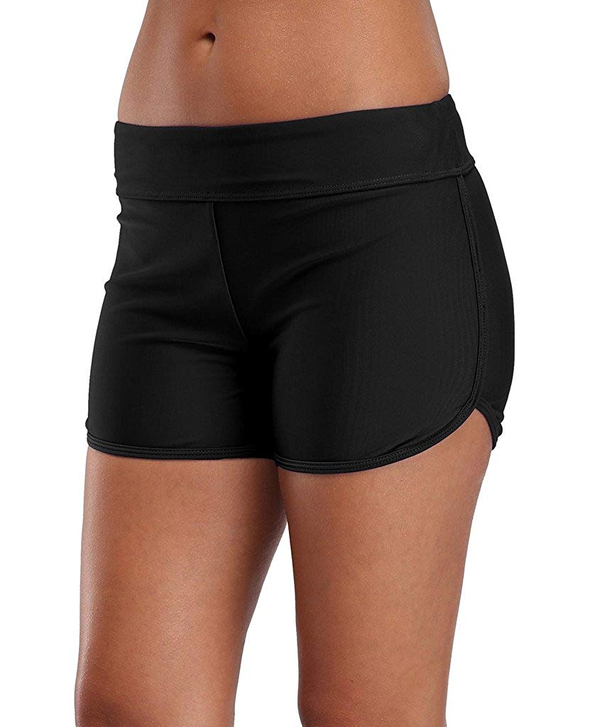 579f62d261 Get Quotations · ALove Womens Solid Swim Shorts Stretch Board Shorts  Swimsuit Bottoms