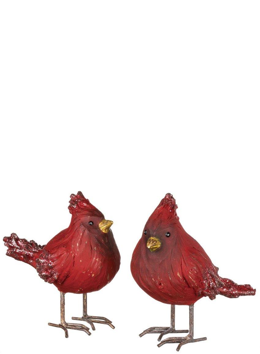 "Set of 2 Assorted Sullivans 4"" Sparkling Snow Resin Cardinal Figurines"