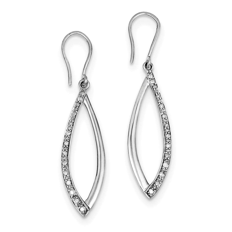 .925 Sterling Silver Rhodium-plated Diamond Dangle Earrings