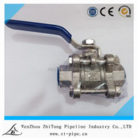 Manual Operated 2 inch Stainless Steel Three PCS Ball Valve ss 316 NPT threaded ball valve WOG1000