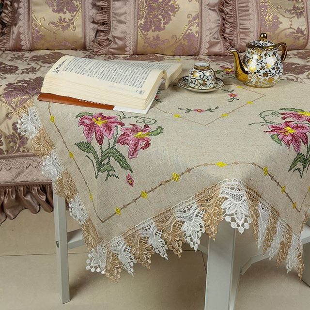 TOP Sale Fashion Design Environmental Linen Cloth Hand Embroidery Cross  Stitch Tablecloth