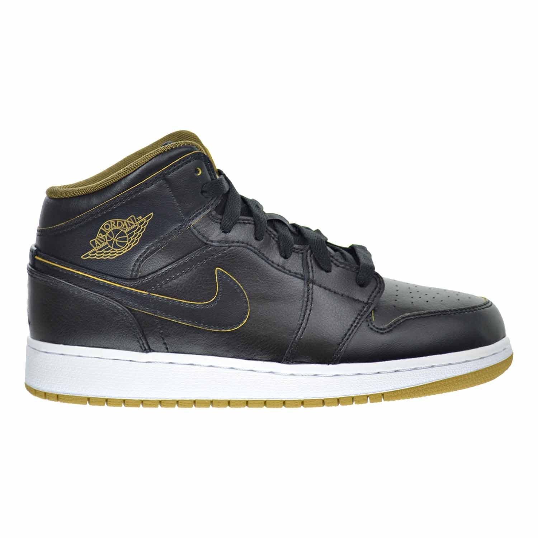 f920ab02c56 Get Quotations · Air Jordan 1 Mid BG Big Kid's Shoes Black/Metallic  Gold/White 554725-