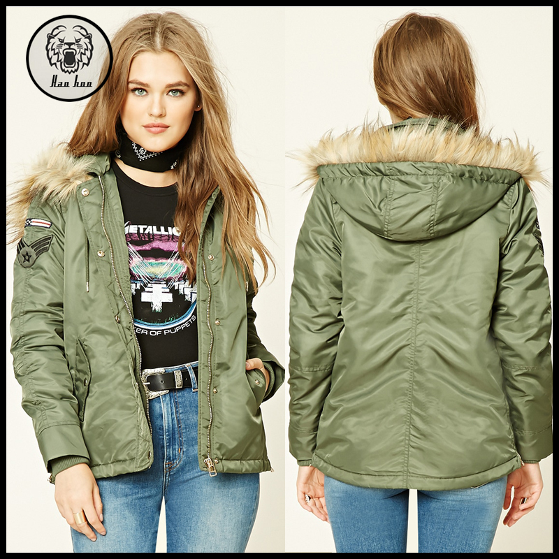 2016 Winter Green Long Patched Military Jacket Women Army Jacket with Faux Fur Hood