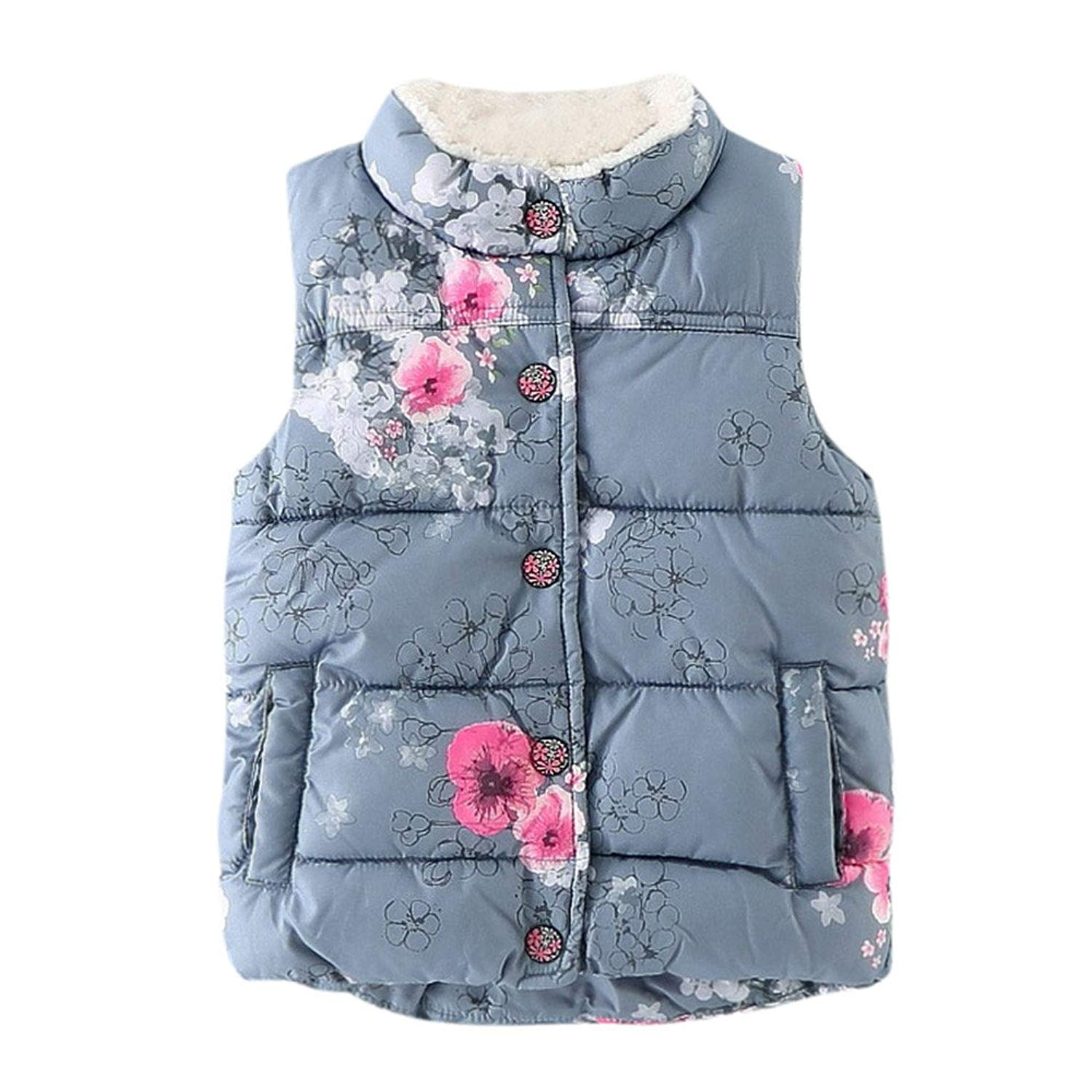 Moonper Kid Infant Toddler Baby Boys Girls Winter and Autumn Warm Thick Floral Jackets Waistcoat Clothes Coat