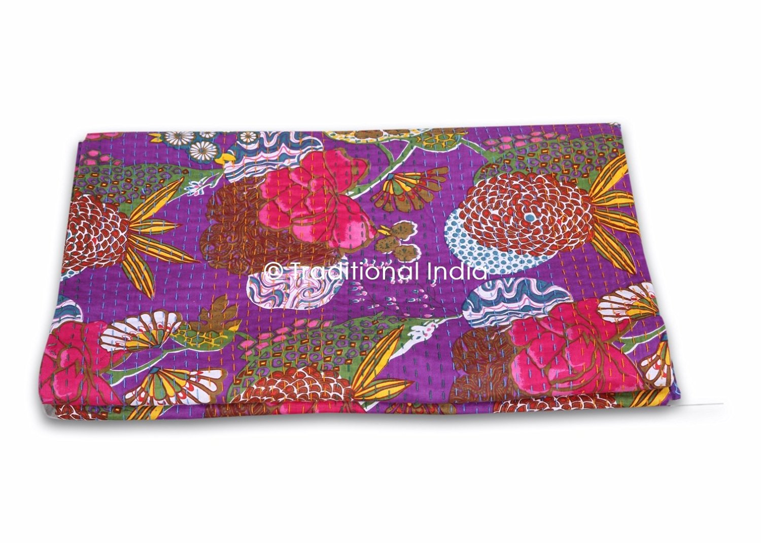 Indian`handmade Kantha Quilt Vintage Queen Size Bedspread Throw Cotton Quilts, Bedspreads & Coverlets Bedding Blanket