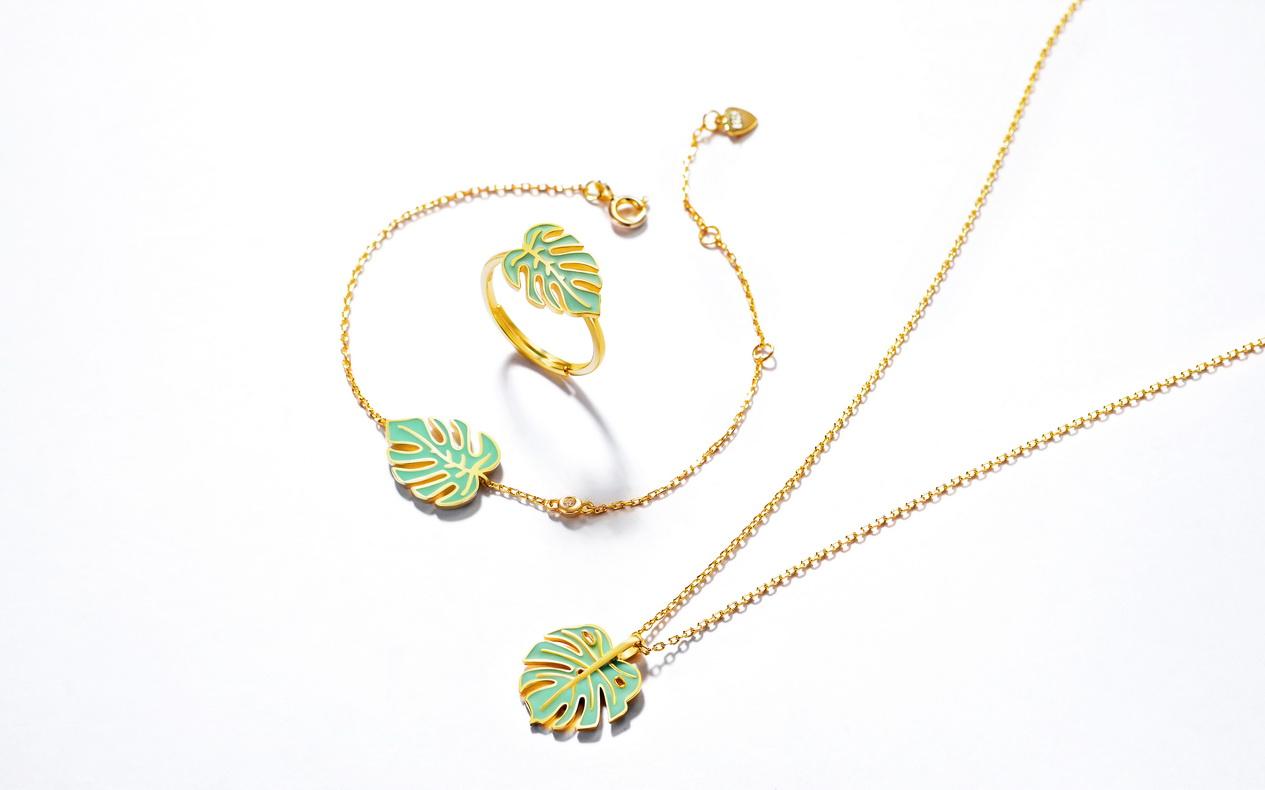 Trendy 14K gold plated enamel jewelry 925 Sterling silver leaf pendant