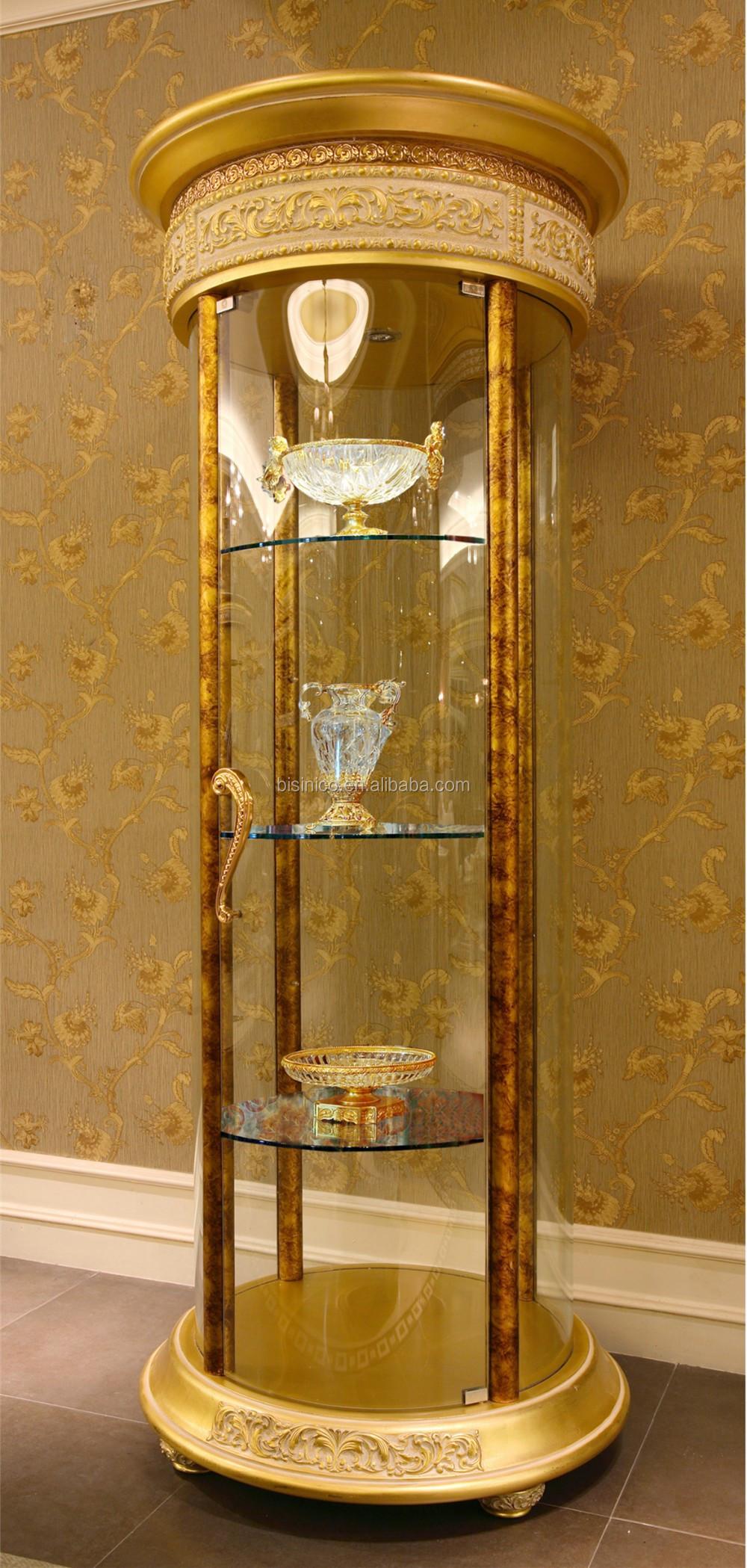 Hoek Vitrinekast Glas.Franse Rococo Stijl Hout Gesneden Ronde Glazen Deur Hoek Vitrinekast