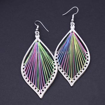 2018 Fashion Handmade Jewelry Whole China Women Metal Frame Dangle Silk Thread Earrings