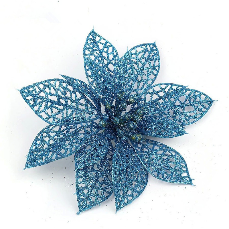 Newest -- Christmas Tree Ornament Blue Christmas Flower 13cm adhesive powder hollow Christmas flowers