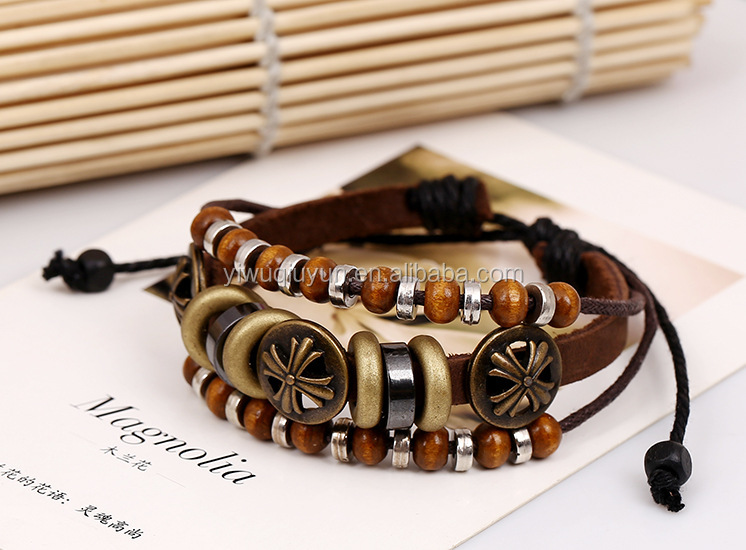 Handmade Retro 3 Layers Rope Woven Breacelets Wooden Beads Bangles For Women Jewelry Fashion