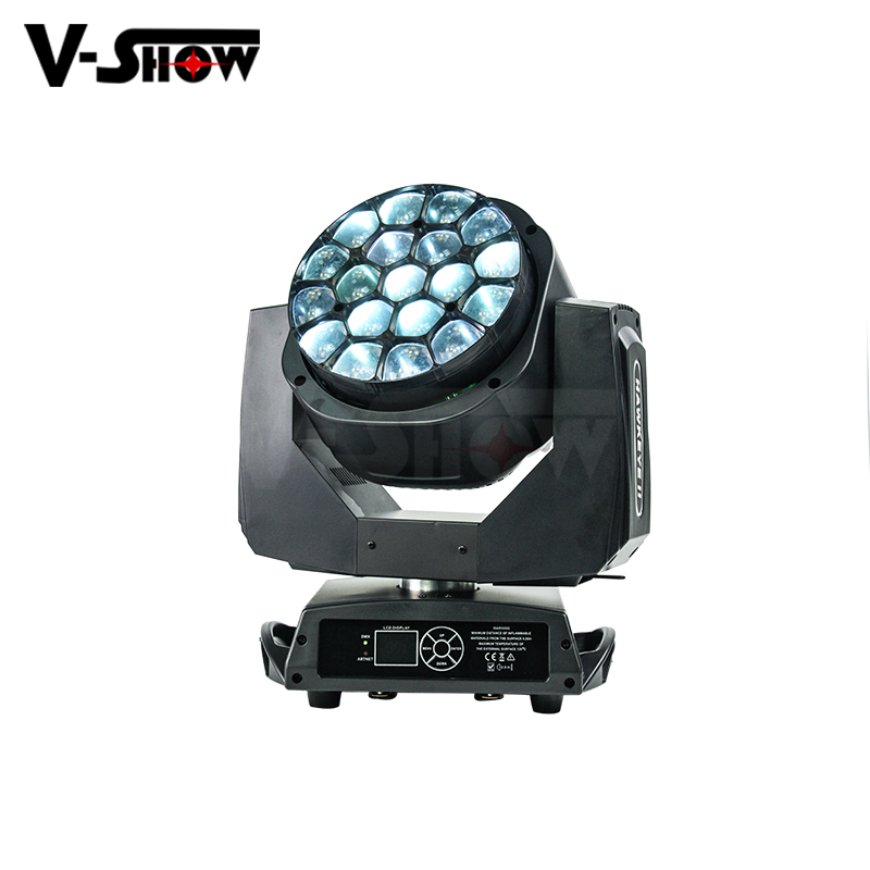 New 19PCS 15w zoom led bee eye move head beam wash stage lighting equipment full color big bee moving lights