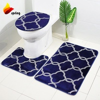 Polyester Fabric Waterproof Customize Printing Bathroom Mat Set With Shower Curtain