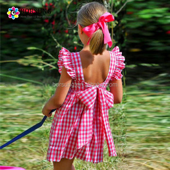 fcd3f79d5 Summer Baby Girl Dresses New Style Angle Sleeve Backless Red Plaid ...