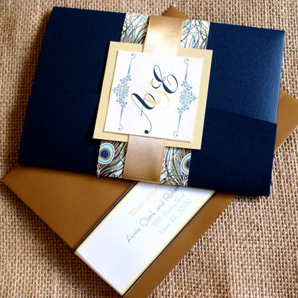 Navy & Gold Classic Wedding Invitation Peacock Wedding Pocketfold Invitation