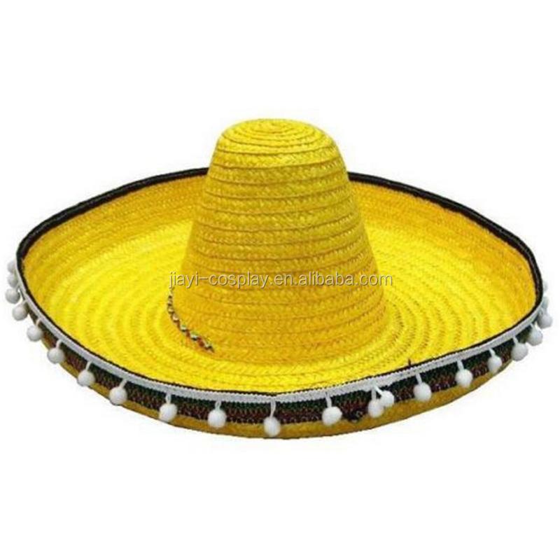 Gold Wide Brim Sombrero Straw Mexican Hat Mexico Straw Sombrero ... 5fa9b583fdf