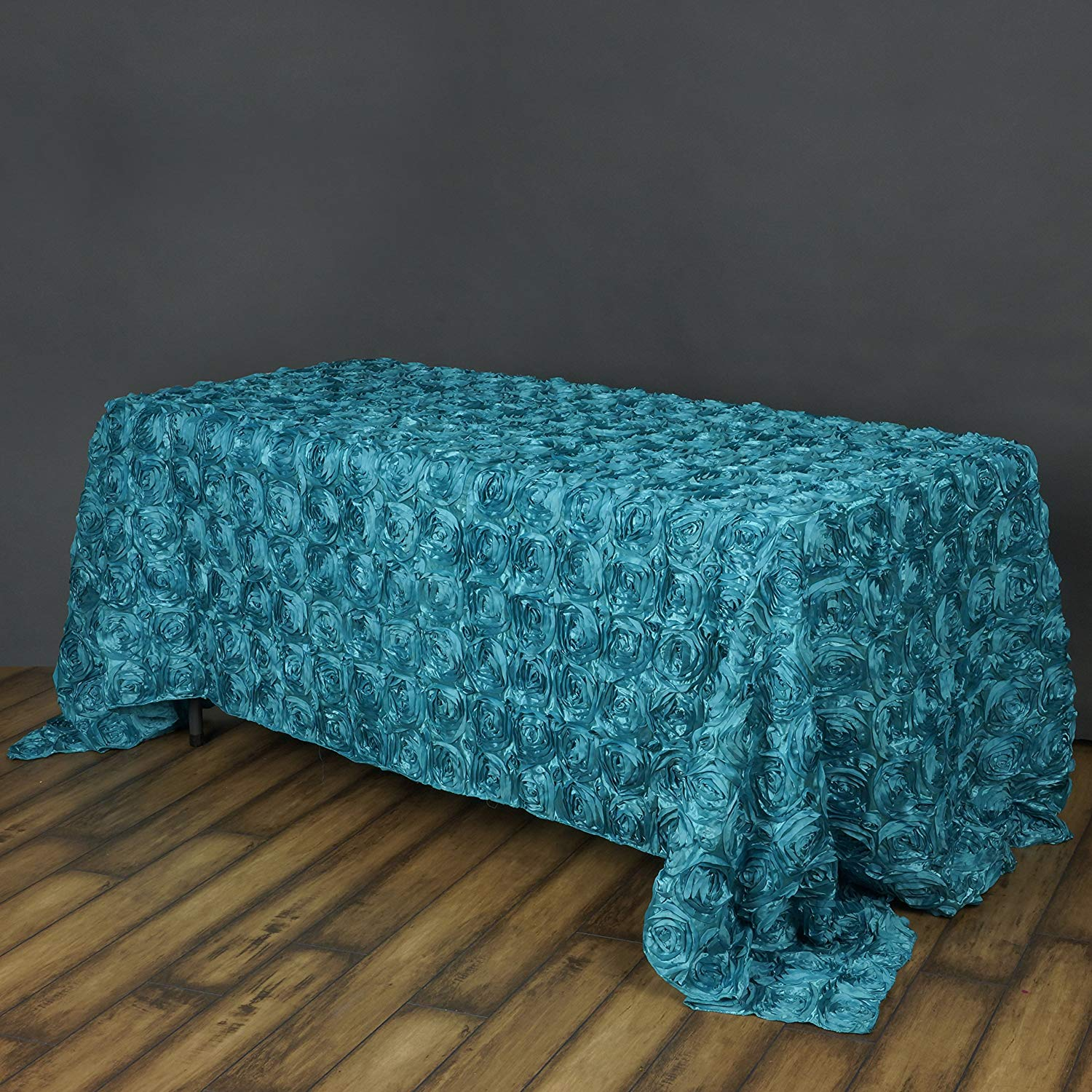 """Efavormart 90""""x132"""" Rectangle Table Cover TURQUOISE Wholesale Grandiose Rosette 3D Satin Tablecloth For Wedding Party Event Decor"""