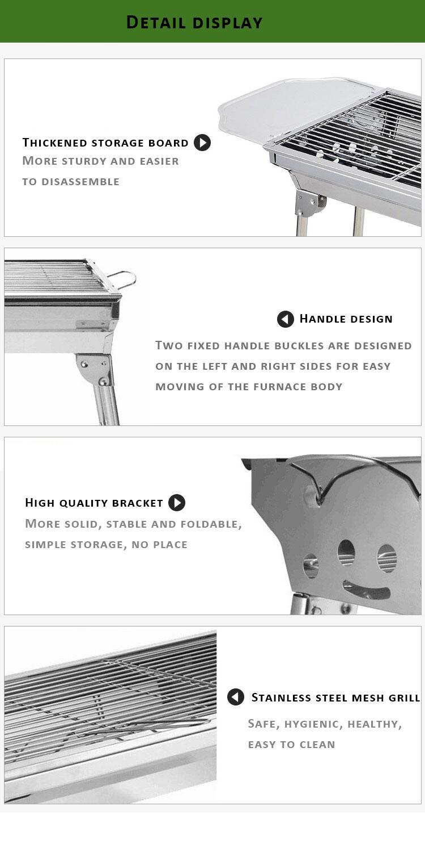 屋外調理キャンプガーデンバーベキュー折りたたみステンレス鋼ポータブルチャコールバーベキューグリル