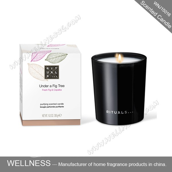natural scented candle in black glass jar