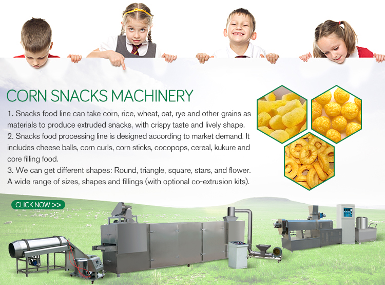 Automatic corn puff snack food processing machine