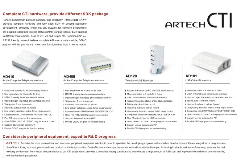 ARTECH AD260  second time developing, 2-Line Computer Telephony Interface, customer information management, caller ID popup