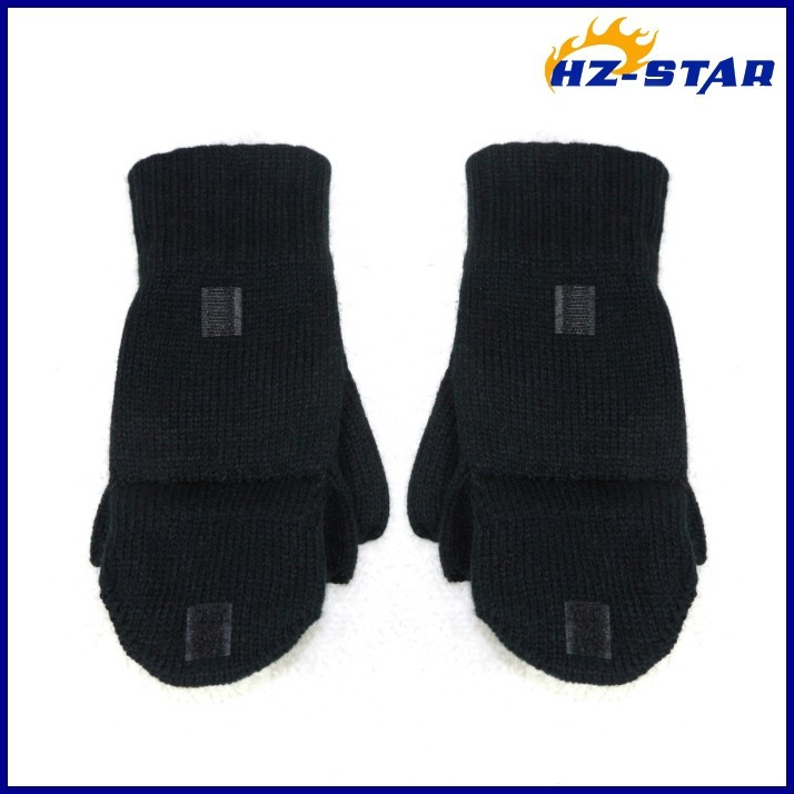 HZS-13064003 new useful custom winter bike warm cheap knit black half finger gloves knitting