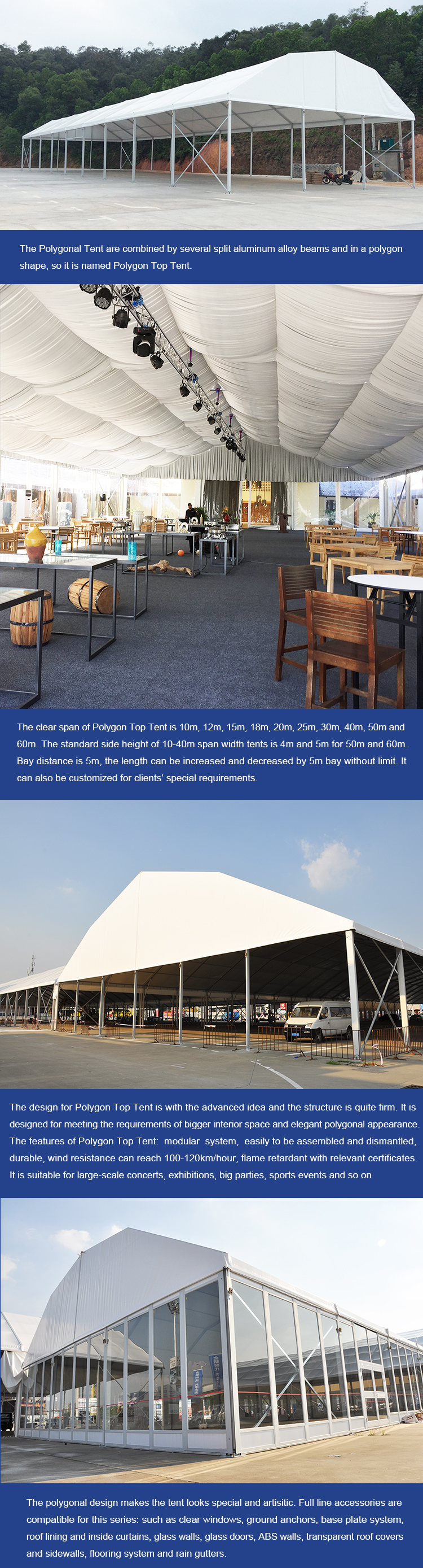 COSCO large aluminum frame pvc coated 20x40 polygonal roof event tent