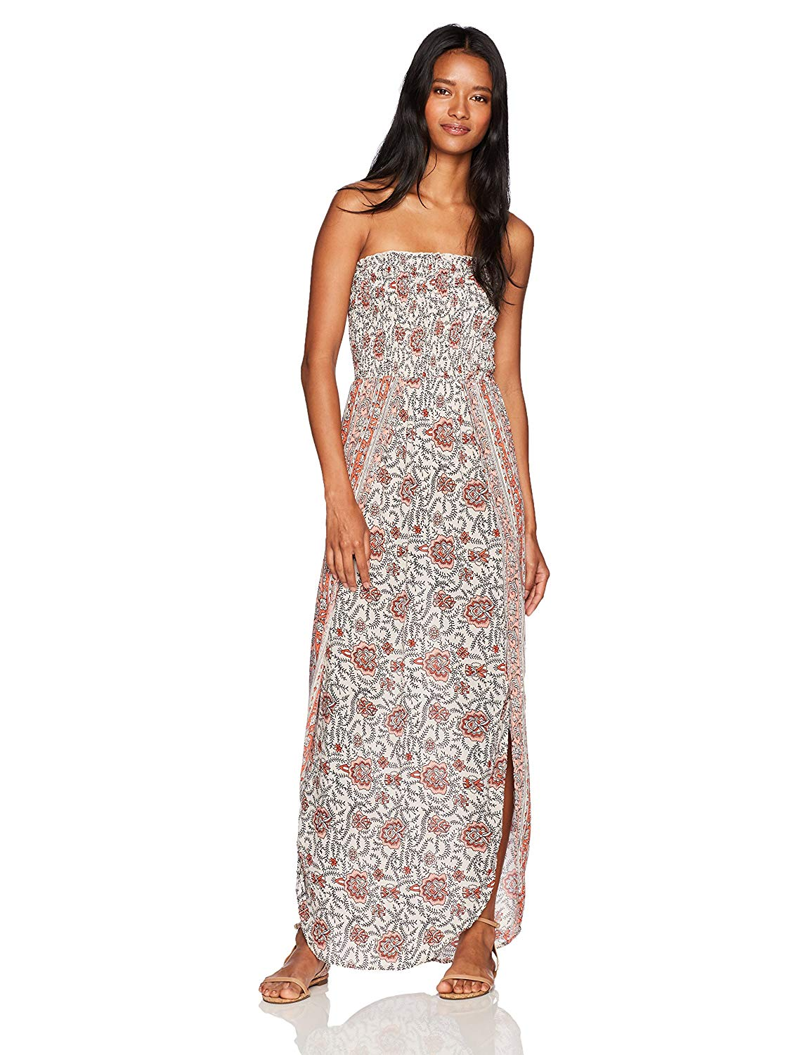 357b5222541e Get Quotations · Angie Women s Smocked Printed Strapless Wrap Flyaway Maxi  Dress