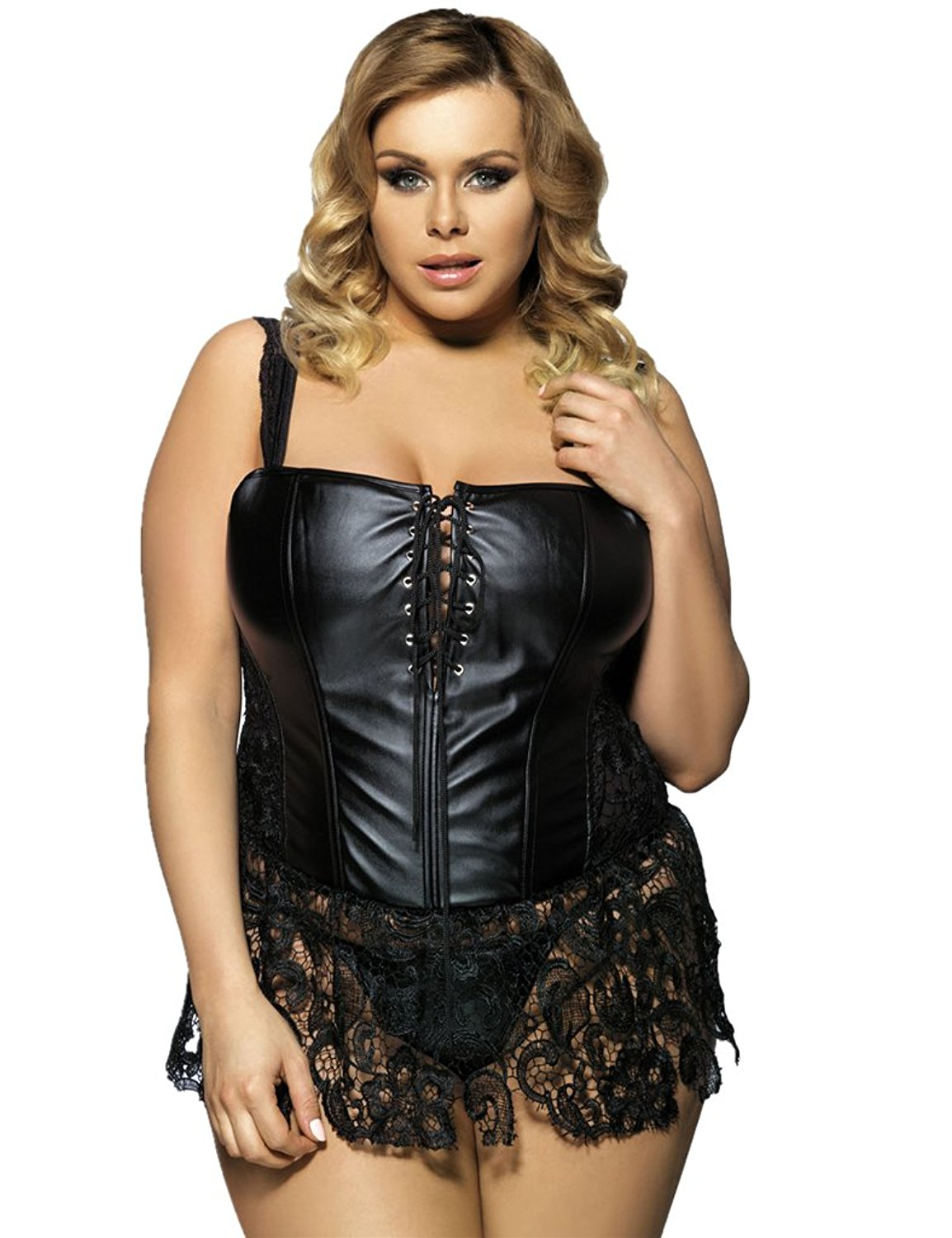 15aab99f479 Get Quotations · ohyeahlady Women Plus Size Corset Steampunk Faux Leather  Boned Corset Overbust Lace Up Bustier Basques Skirt