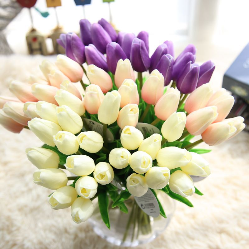 Commercial cheap valentinies day tulips navy blue silk flowers
