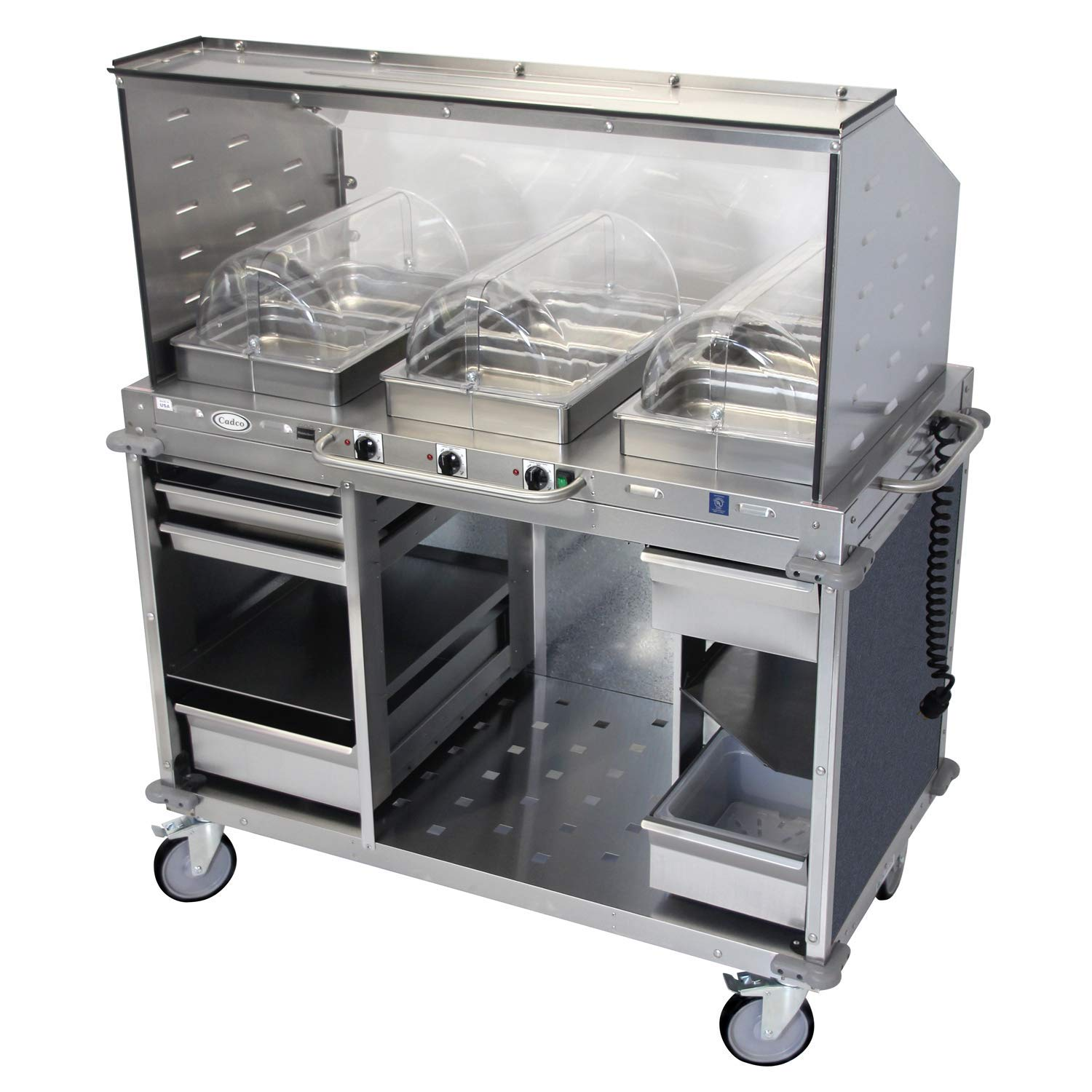 "Mobile Hot Buffet Cart with Sneeze Guard Steam Pans Size: 2.5"" H, Color: Girona Falls Blue Marbled"