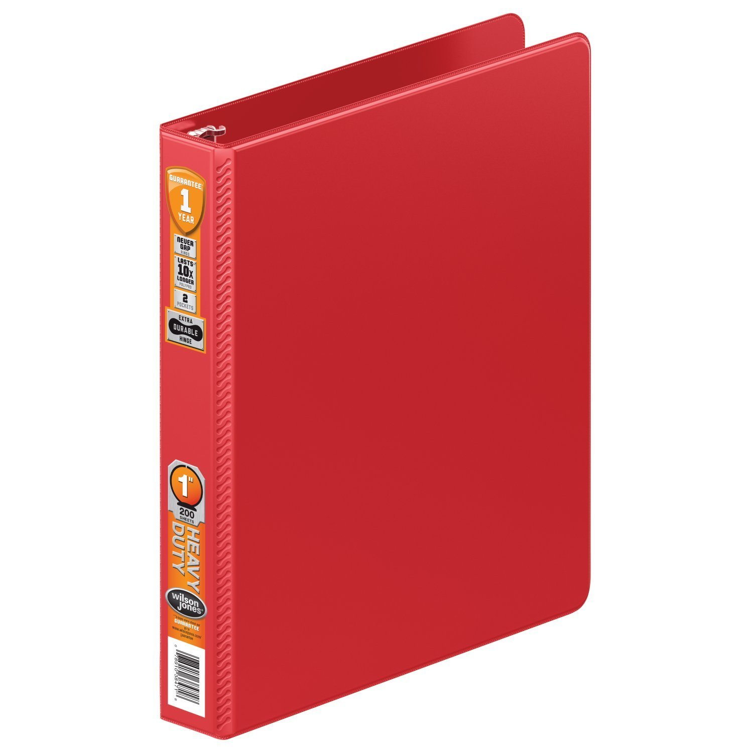 Wilson Jones Heavy Duty Round Ring Binder with Extra Durable Hinge, 1-Inch, Red (W364-14-1797)