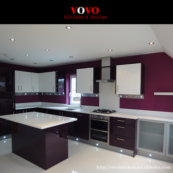 Pre Embled Kitchen Cabinets In High Gloss Dark Purple Color With 10cm Backsplash