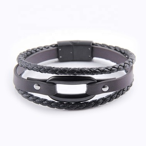 accessories for men stainless steel parts leather bracelet with logo