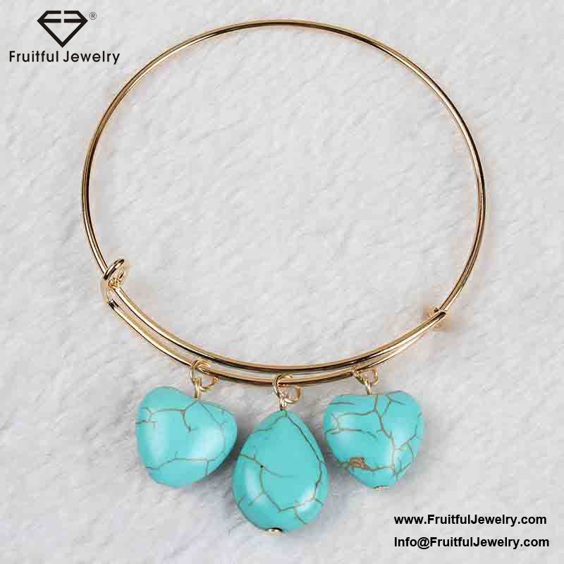 Artificial jewellery design Three heart shaped Turquoise Pendant fine alloy ring braceletcircle bracelet women accessories china