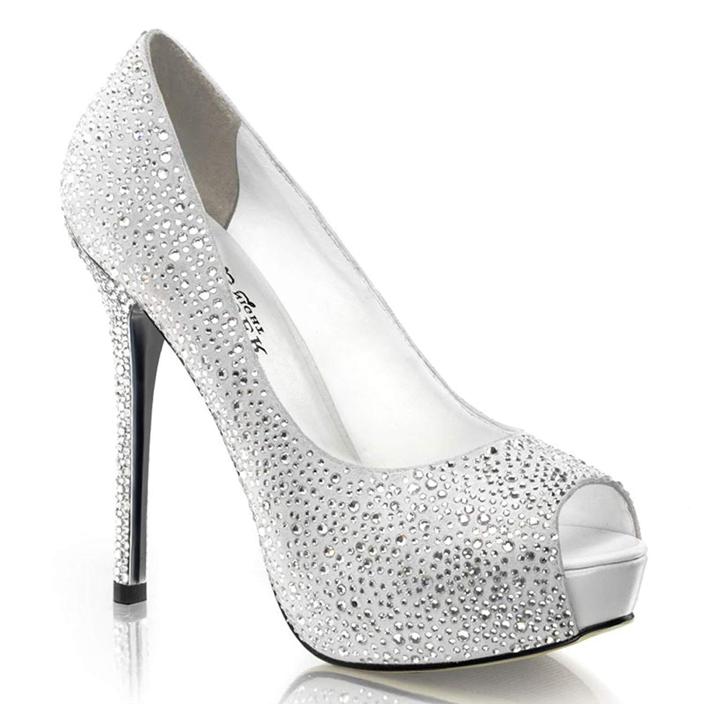 94447690f48 Get Quotations · 5 Inch Rhinestone Peep Toe Pumps Black Silver Women s Sexy  High Heel Shoes