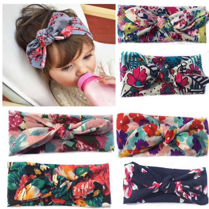alibaba wholesale floral printed children bowknot hair band cheap cotton baby <strong>headband</strong>