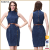 Womens Sleeveless Bodycon Denim Midi Dress Plus Size