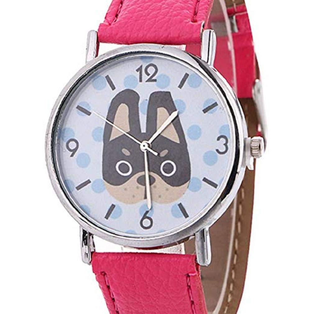 Big Promotion Animal Pattern Watches for Women,Windoson Unique Analog Lady Watches Cartoon Dog Female Watches Casual Wrist Watches for Women Comfortable PU Leather Watch (hot Pink)