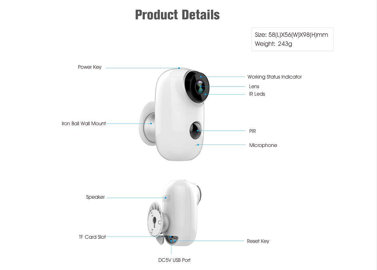 CTVISON wireless battery camera battery powered wifi camera with sd card long operated outdoor ip wifi pir security surveillance