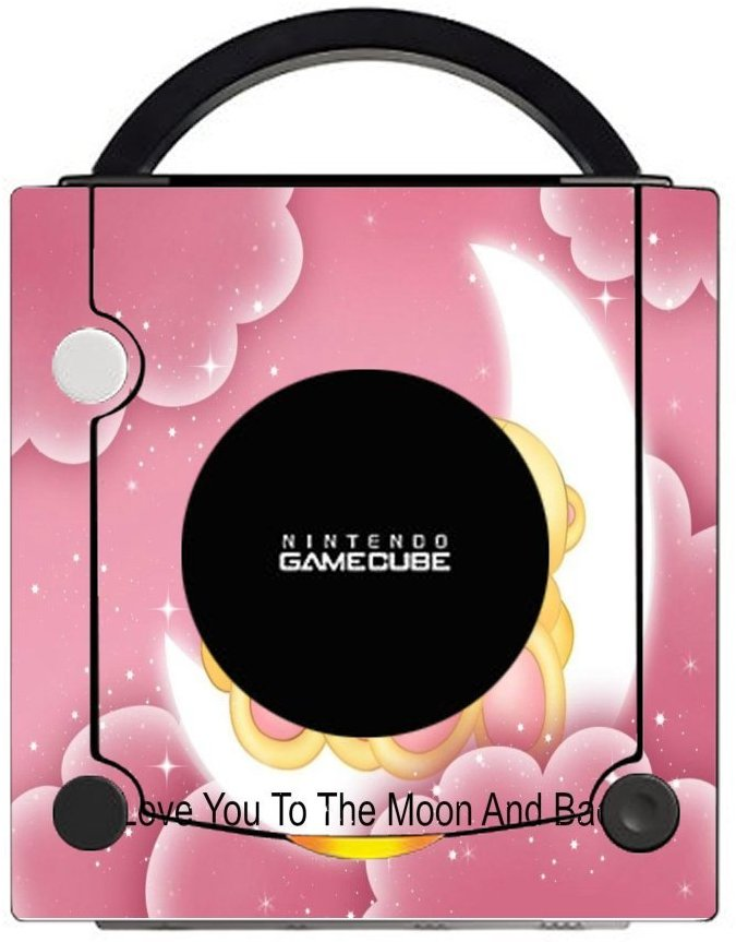 Teddy Bears Moon Roses Stars in Pink Printed Design Gamecube Vinyl Decal Sticker Skin by Smarter Designs