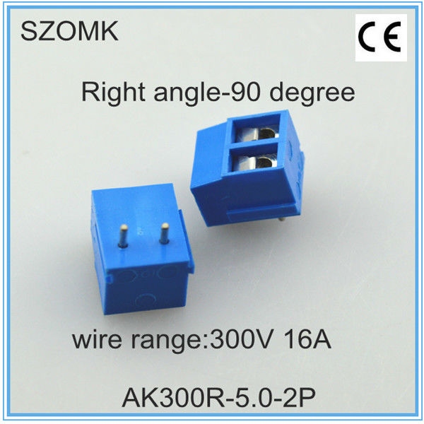 right angle terminal block connector and terminator of 5.0mm spacing and 2 pins which can be customized in Chinese factory