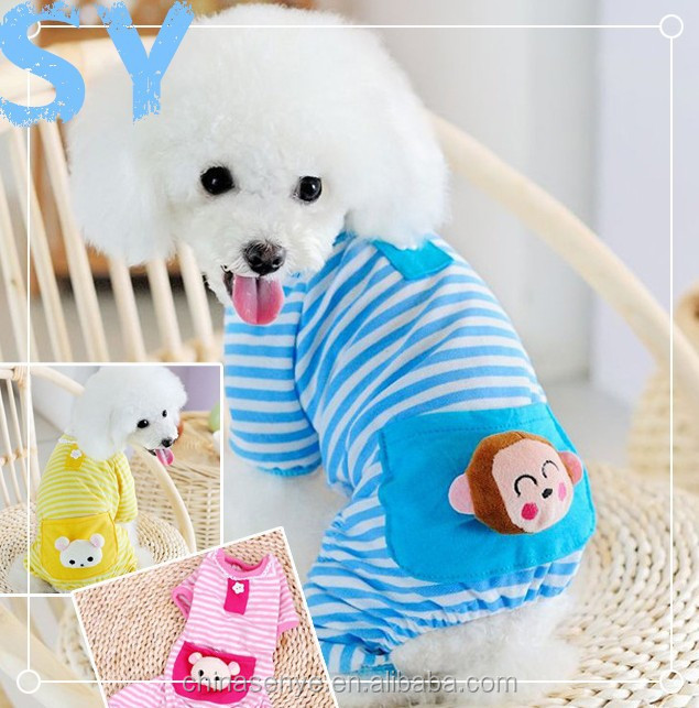 2015 Lovely stripe cotton pajamas clothes pocket pet clothing cat/dog pajamas