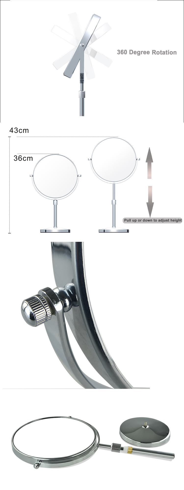 8 Inch Double Sided Height Adjustable Tall Countertop 10X Magnifying Makeup Vanity Mirror Near Me