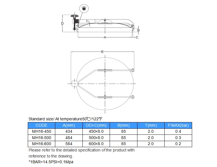 Stainless steel tank parts sanitary normal pressure manhole